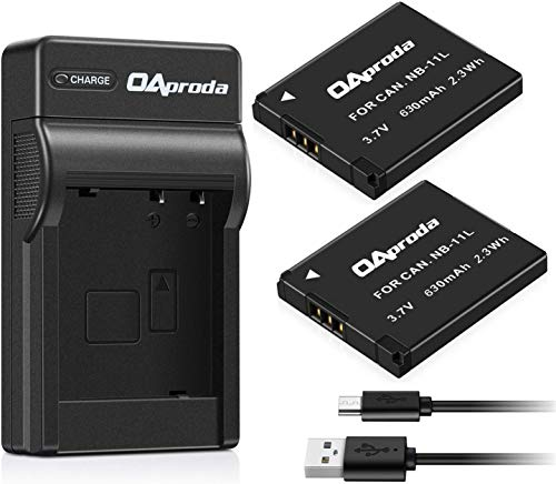 OAproda 2 Pack NB-11L Battery and USB Charger for Canon PowerShot ELph 180,...