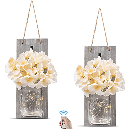 Rustic Wall Sconces - Mason Jars Sconce, Rustic Home Decor,Wrought Iron...
