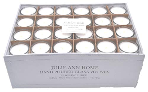White Unscented Glass Votive Candle - Pack of 48 | Bulk Pack for Weddings,...
