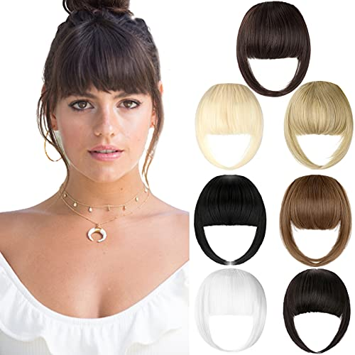 Bangs Hair Clip Extension French Bang Clip in Thick Natural Full Front Neat...