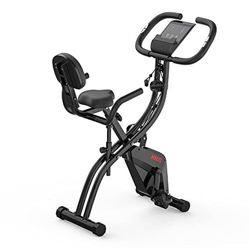 Folding Exercise Bike with Arm Resistance Bands, Magnetic Upright Indoor...