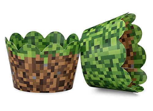 Miner Themed Pixel Grass Cupcake Wrappers for Boys Birthday Parties,...