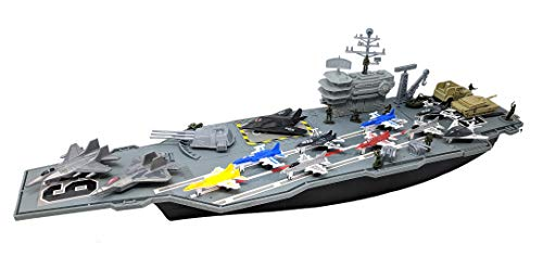 Toy Essentials 27 Inch Aircraft Carrier with Fighter Jets Vehicles and Mini...