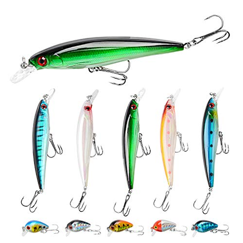 Fishing Lures Kit Minnow Lures Minnow Crank Bait Fishing Tackle Topwater...