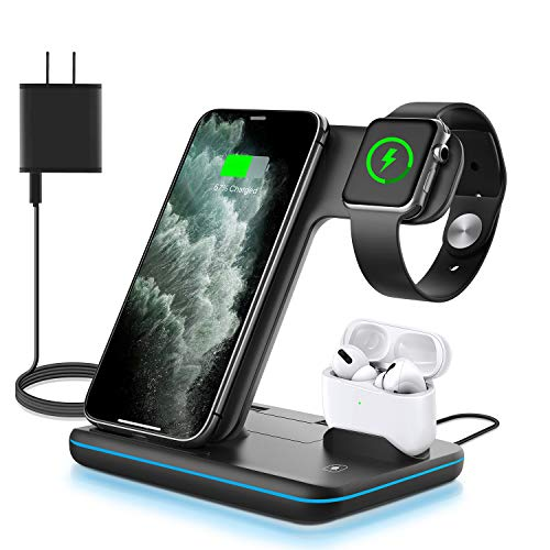 WAITIEE Wireless Charger 3 in 1, 15W Fast Charging Station for Apple iWatch...