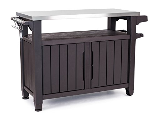 Keter Unity XL Portable Outdoor Table and Storage Cabinet with Hooks for...