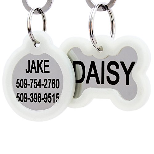 GoTags Personalized Dog Tags in Stainless Steel, Includes Glow in The Dark...