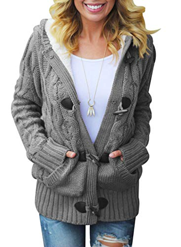 Dokotoo Womens Oversized Ladies Chunky Hooded Casual Cardigans Coats Button...
