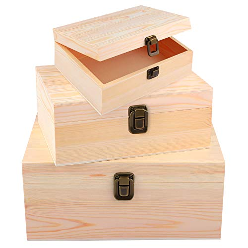 ADXCO 3 Pack Unfinished Wood Treasure Chest Decorative Wooden Box Pine Wood...