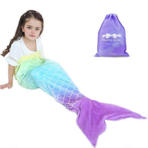 RIBANDS HOME Cozy Mermaid Tail Blanket for Kids and Teens Soft Flannel...