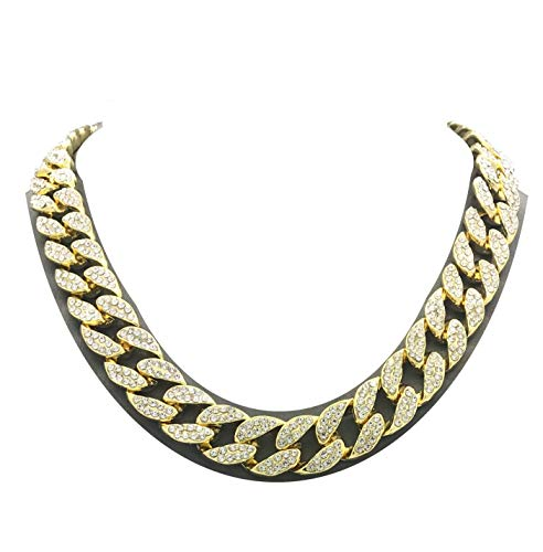 Mens Iced Out Hip Hop Gold tone CZ Miami Cuban Link Chain Choker Necklace...