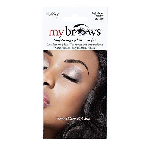 Godefroy MyBrows Long Lasting Eyebrow Transfers, High Arch, Natural Black,...