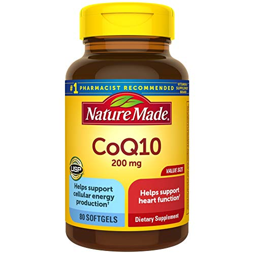 Nature Made CoQ10 200 mg Softgels, 80 Count Value Size for Heart Health