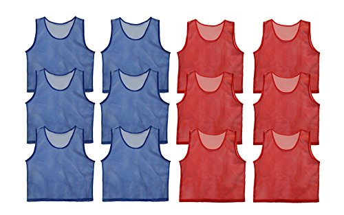 Get Out! Set of 12 Scrimmage Vest Pinnies for Teen/Adult in Red and Blue...