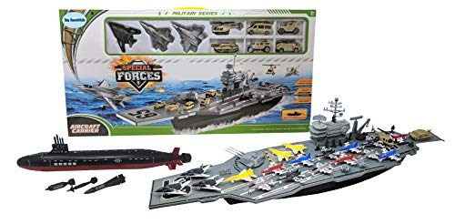 Toy Aircraft Carrier Ship with Warplanes and Submarine Combo, Includes 18...