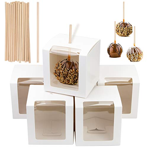 Fireboomoon 30 PCS White Kraft Candy Apple Boxes with Holes and...