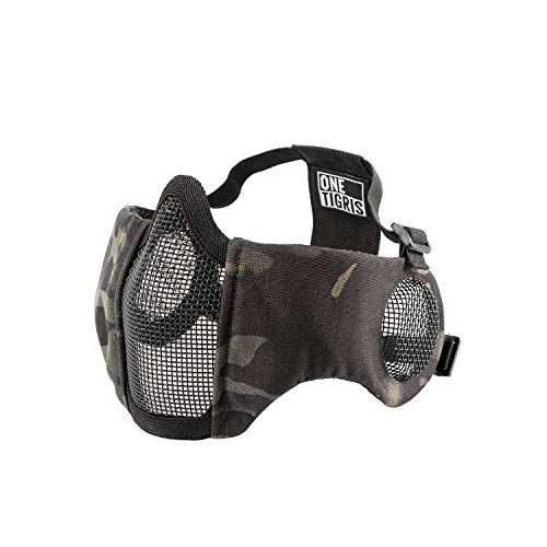 OneTigris 6' Foldable Half Face Airsoft Mesh Mask with Ear Protection,...