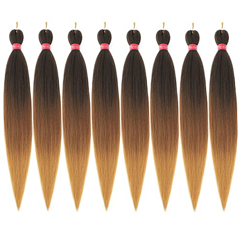 Ombre Pre Stretched Braiding Hair, Top Silky Color Blend Braid Hair...