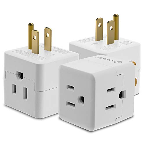 3 Outlet Wall Adapter Tap (3 Pack), Fosmon 3-Prong Portable Travel Mini...