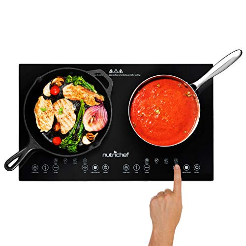 NutriChef Double Induction Cooktop 120V Portable Digital Ceramic Dual...