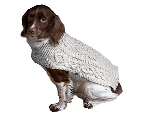 Aran Crafts Dog Irish Cable Knit Wool Soft Buttoned Coat for Dogs...
