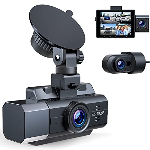 4K Dash Cam Front and Rear Inside 3 Channel Dashcam,CAMBASE 4K+1080P Front...