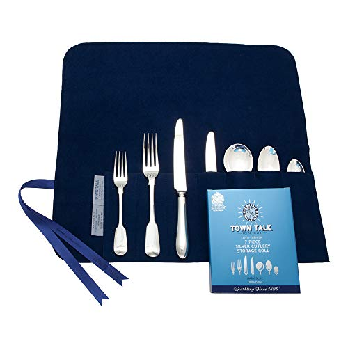 7 Section Silver Place Setting Storage Roll, Blue by Town Talk