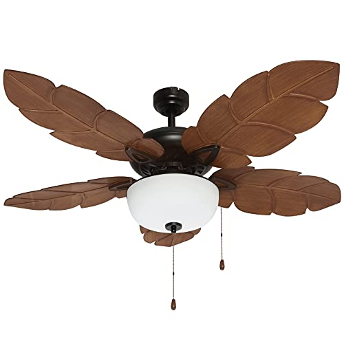 hykolity 52 Inch Indoor Tropical Ceiling Fan W/ Light Kit, Five ABS Palm...