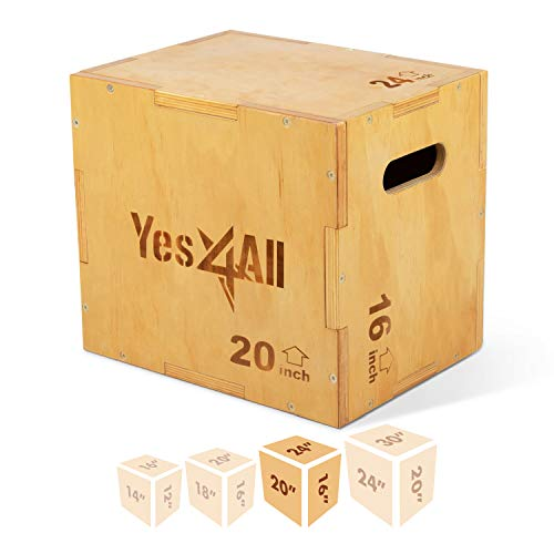 Yes4All 3 in 1 Wooden Plyo Box - Natural - 24 x 20 x 16