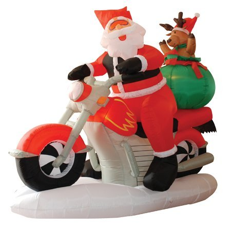 6 Foot Long Lighted Christmas Inflatable Santa Claus on Motorcycle and...