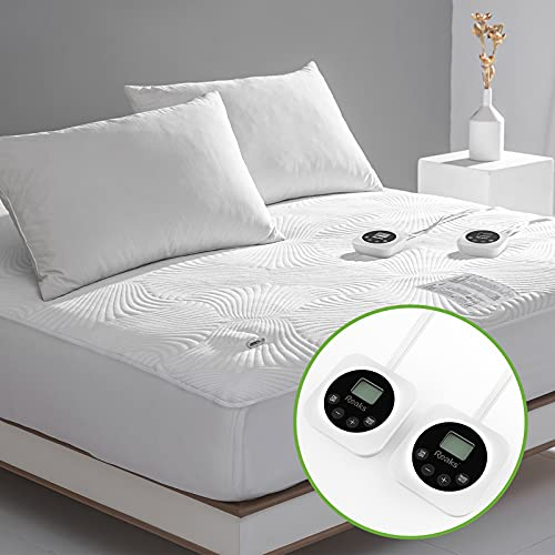 Queen Size Zoned Electric Heated Mattress Pad Dual Control,Heating Blanket...