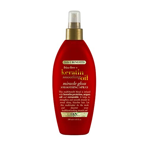 Frizz-Free + Keratin Smoothing Oil Miracle Gloss Spray, 5 in 1, De-frizz...