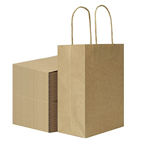 Sturdy 5.25x3.25x8 inch 100 Pack Small Paper Bags with Handles Bulk, Bagmad...
