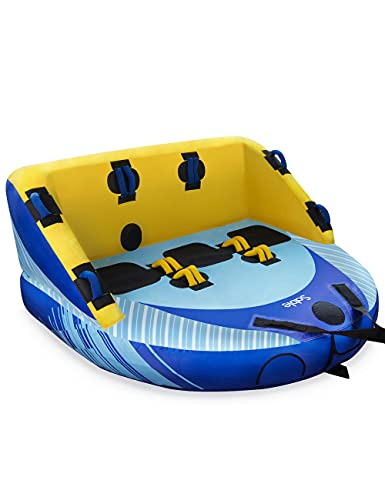 Sable 3 Person Towable Tube for Boating, 1-3 Rider Inflatable Towable Water...