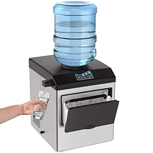 SOUKOO 2 in 1 Water Ice Maker, 48lbs Daily Ice Cube Makers,Stainless Steel...
