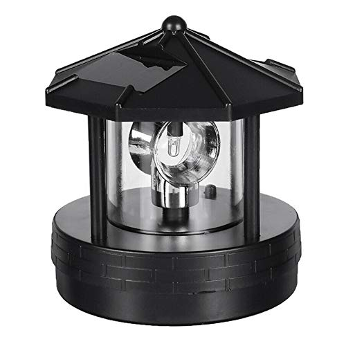 nago0 Solar Powered Lighthouse - Rotating Outdoor Waterproof LED Solar...
