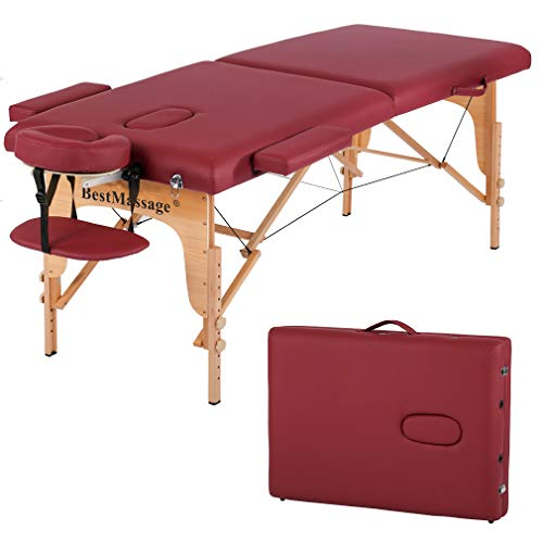Massage Table Massage Bed Spa Bed PU Portable 84 Inches 2 Fold Heigh...