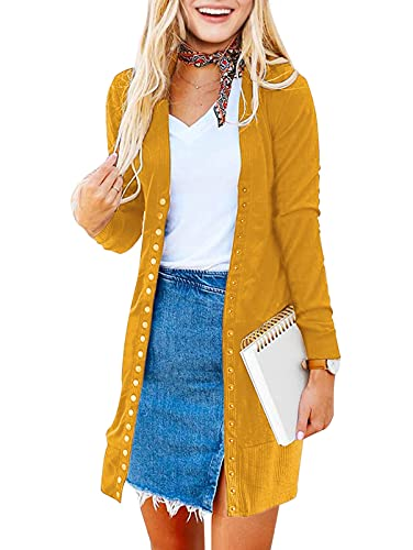 MEROKEETY Women's Long Sleeve Snap Button Down Solid Color Knit Ribbed...