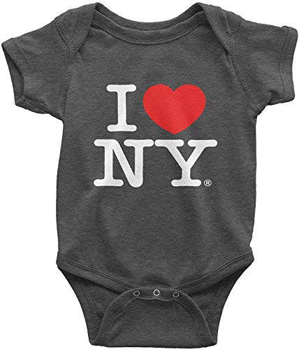 I Love NY Charcoal Baby Bodysuits Officially Licensed New York Infant (6m)