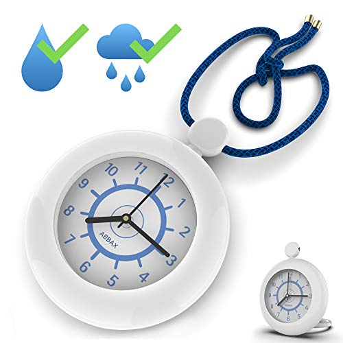 Shower Rope Clock Waterproof for Water Spray Hanging Clock with a Built-in...