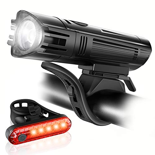 Ascher Ultra Bright USB Rechargeable Bike Light Set, Powerful Bicycle Front...