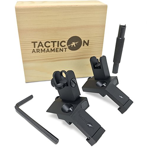 Tacticon Armament 45 Degree Offset Flip Up Iron Sights for Rifle Includes...