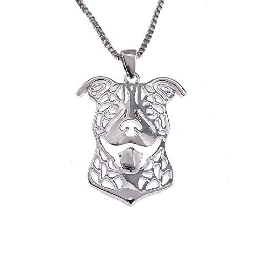 Pit Bull Dog Sterling Silver Necklace by Ginger Lyne Ears Down Puppy Dog...