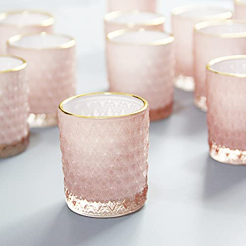 SHMILMH Pink Glass Candle Holder with Gold Rim Set of 24, Tealight Holders...