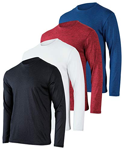 Mens Long Sleeve T-Shirt Workout Clothes Dri Quick Dry Fit Gym Crew Shirt...