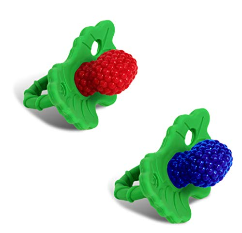 RaZbaby RaZberry Silicone Baby Teether Toy (2-Pack) - Berrybumps Soothe...