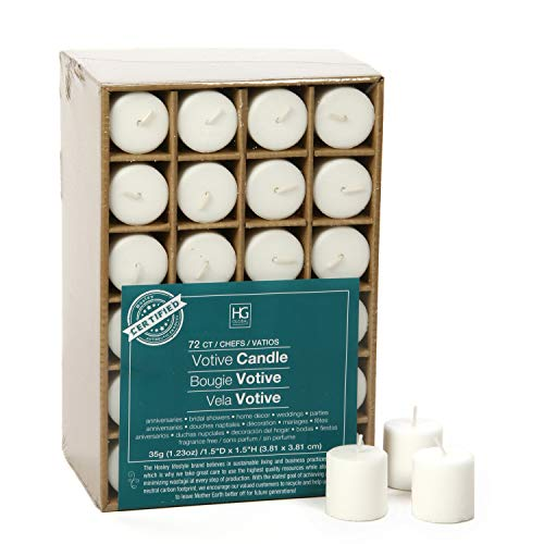 Hosley's Set of 72 White Unscented Votive Candles