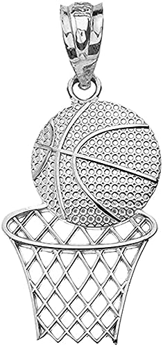 .925 Sterling Silver Textured Basketball & Hoop Sports Charm Pendant