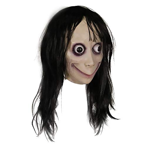 Molezu Horror Devil Mask with Long Hair,Scary Challenge Games Evil Costume,...