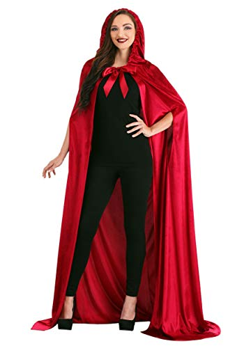 Adult Red Riding Hood Hooded Cloak with Hood Crushed Velvet Cape for Fairy...